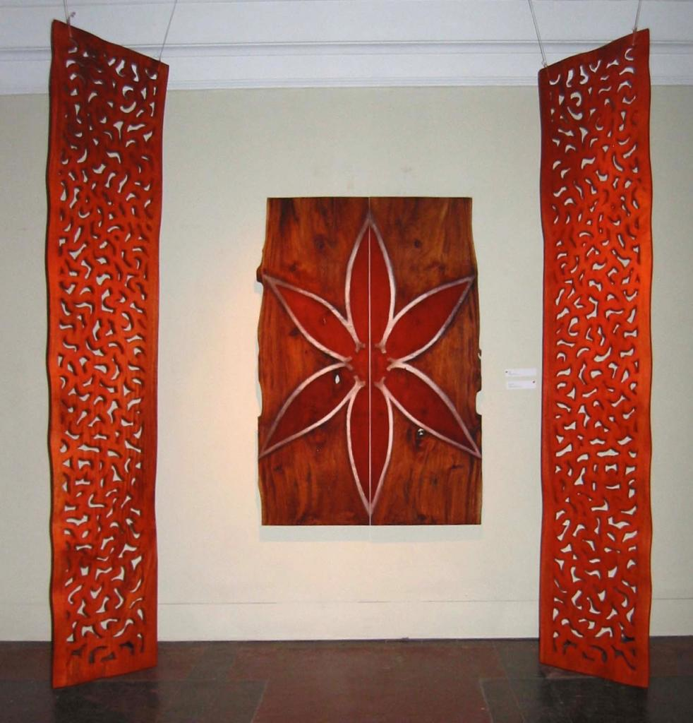 FRET WORK, 2006, mahogany and pigment, 40 x 104 x 1¼ in