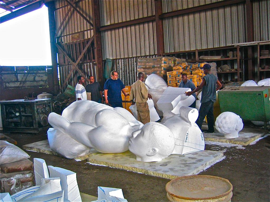 Preparing for bronze casting - cutting of styrofoam for REDEMPTION SONG 2003