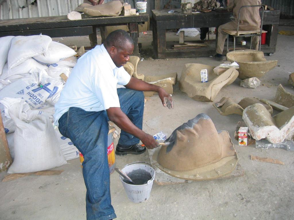 Mr. Grant working on the mold for REDEMPTION SONG 2003