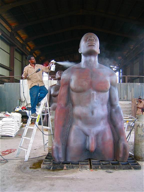 Patina - putting color on the male figure of the REDEMPTION SONG