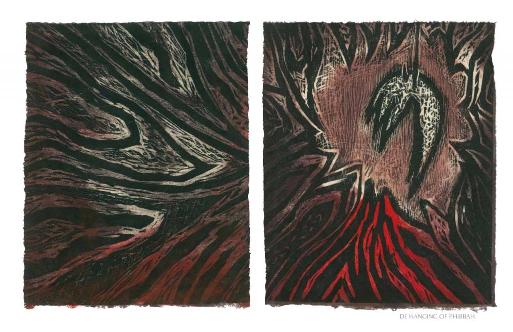 DE HANGIN OF PHIBBAH, 2012, woodblock print, 1 of 9 diptych prints on Kitikata paper, 10 x 8.5 in each, that belongs to the WEEPING IN THE BLOOD series.