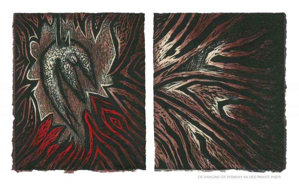 DE HANGIN OF PHIBBAH'S PRIVATE PARTS, 2012, woodblock print, 1 of 9 diptych prints on Kitikata paper, 10 x 8.5 in each, that belongs to the WEEPING IN THE BLOOD series.