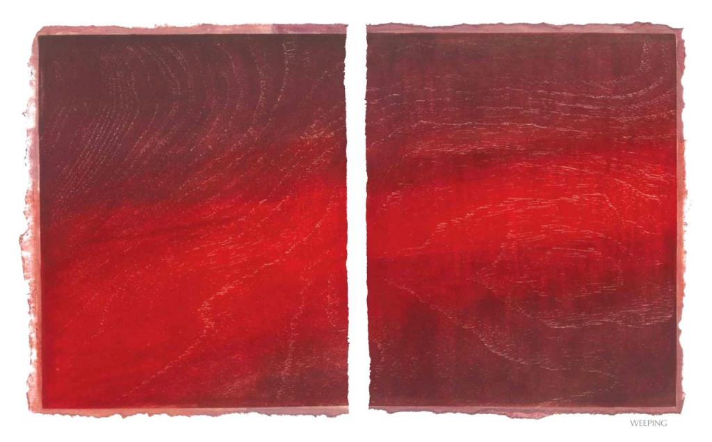 WEEPING, 2012, woodblock print, 1 of 9 diptych prints on Kitikata paper, 10 x 8.5 in each, that belongs to the WEEPING IN THE BLOOD series.