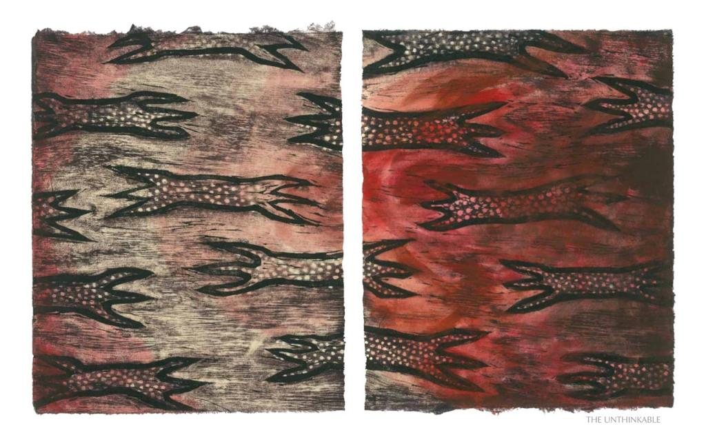 THE UNTHINKABLE, 2012, woodblock print, 1 of 9 diptych prints on Kitikata paper, 10 x 8.5 in each, that belongs to the WEEPING IN THE BLOOD series.
