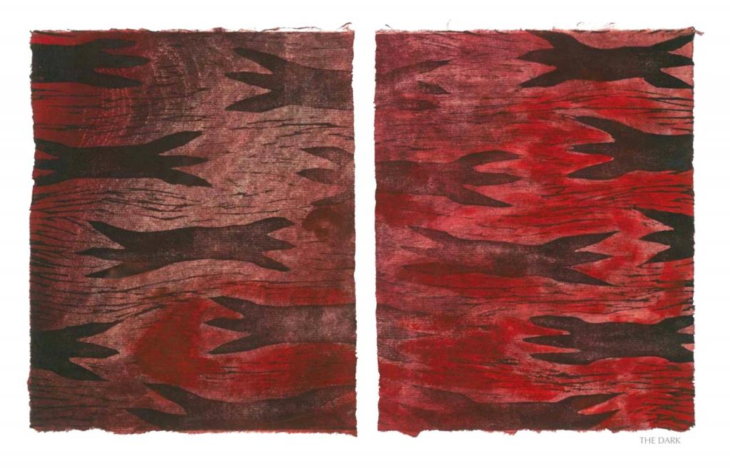 THE DARK, 2012, woodblock print, 1 of 9 diptych prints on Kitikata paper, 10 x 8.5 in each, that belongs to the WEEPING IN THE BLOOD series.