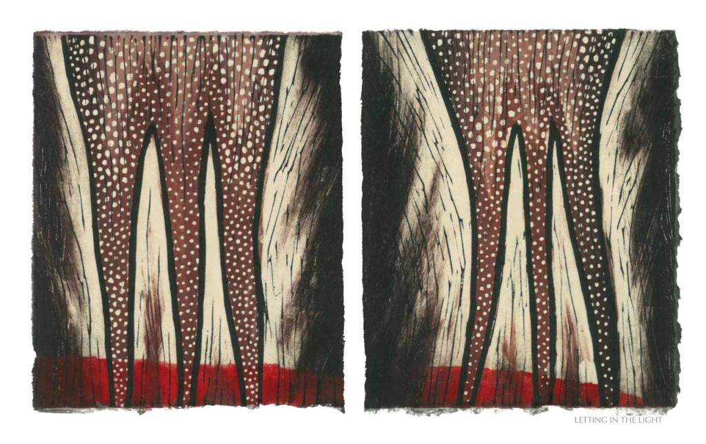 LETTING IN THE LIGHT, 2012, woodblock print, 1 of 9 diptych prints on Kitikata paper, 10 x 8.5 in each, that belongs to the WEEPING IN THE BLOOD series.