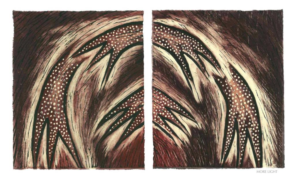 MORE LIGHT, 2012, woodblock print, 1 of 9 diptych prints on Kitikata paper, 10 x 8.5 in each, that belongs to the WEEPING IN THE BLOOD series.