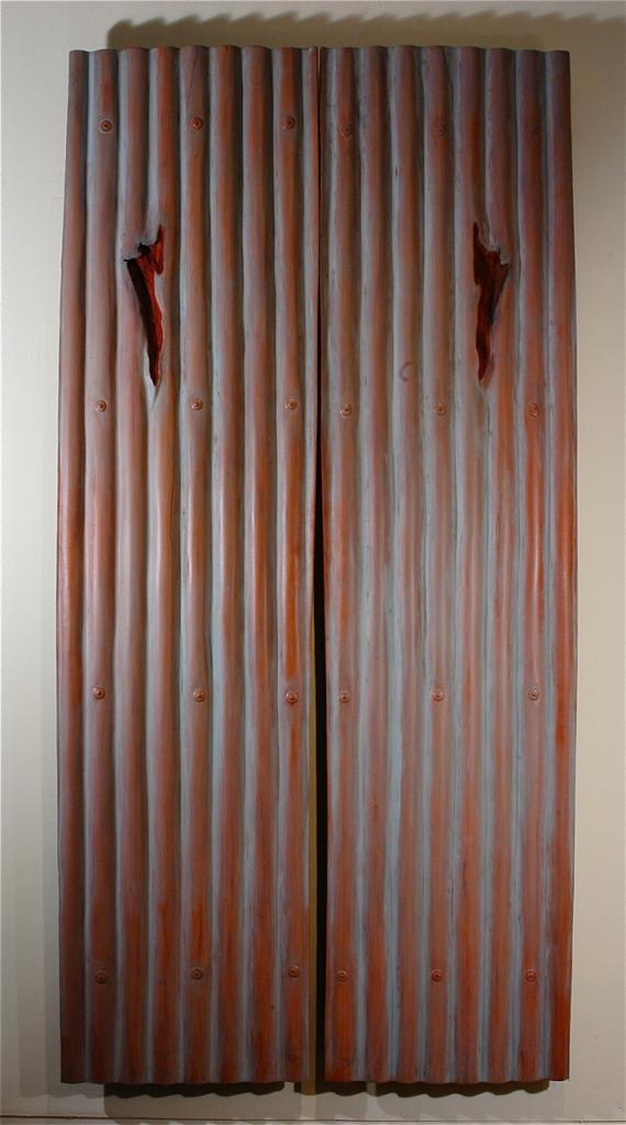 BLOOD OF ZINC, 2006, mahogany and oil, 50 x 100 x 1¼ in