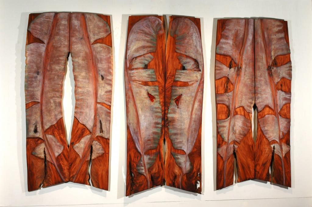 CRUCIFIXION, 2006: triptych cedar and oil, 147 x 78 x 1¼ in