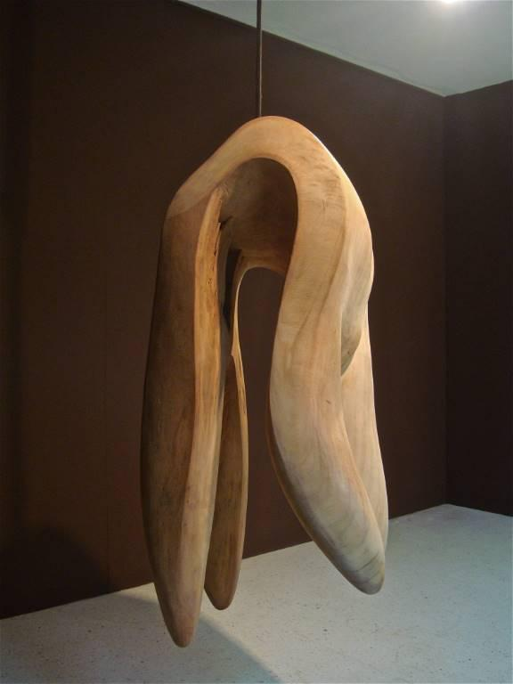 "DE HANGIN OF PHIBBAH..., 2013, cedar, rope, iron, 60"". . Phibbah is hung – a metaphor for the atrocities done to women."