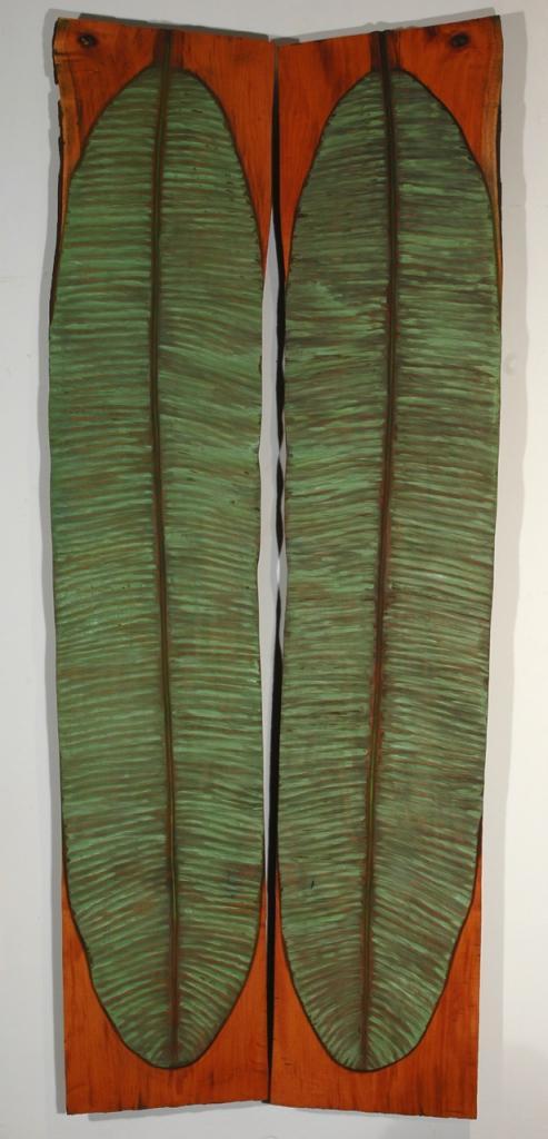 BANANA LEAF, 2006, mahogany and oil, 42 x 105 1¼ in