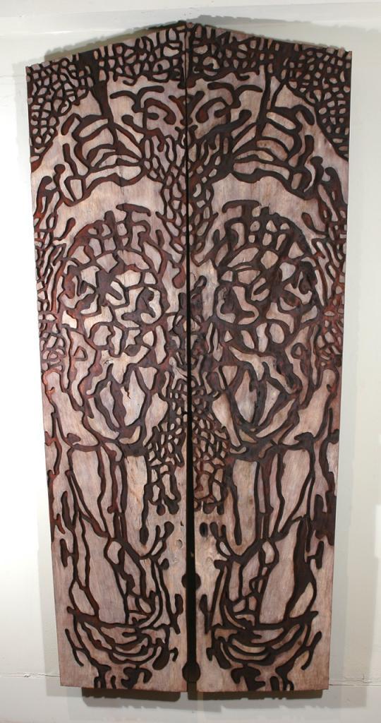 WORM WOOD, 2006, cedar and oil, 52 x 104 x 1¼ in