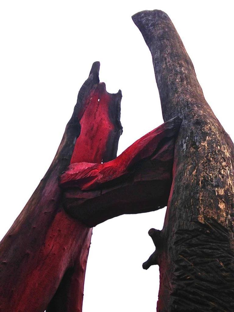 TUNING FORK, detail, 2015, oak, 20 feet, Royal Botanical Gardens, Ontario, Canada
