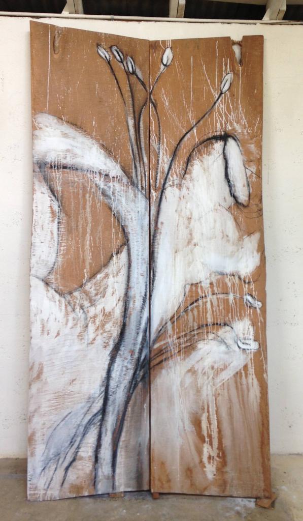 SOLANDRA series, 2009, paint, charcoal, cedar panels, 103 x 50 inches