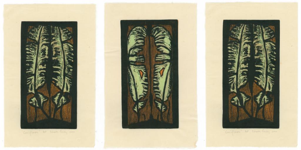 CRUCIFIXION (triptych), 2010, wood block print, kitikata paper, 9 3/4 x 5 1/4 in each