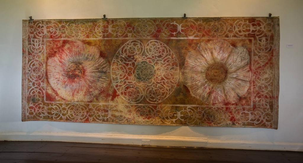 GARLIC MANDALA, 2010, mixed media on paper, 10 ft