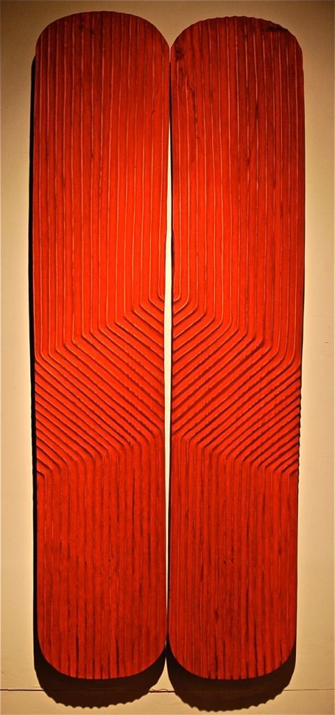 RECONCILIATION, 2006, mahogany and pigment, 41 x 102 x 1¼ in
