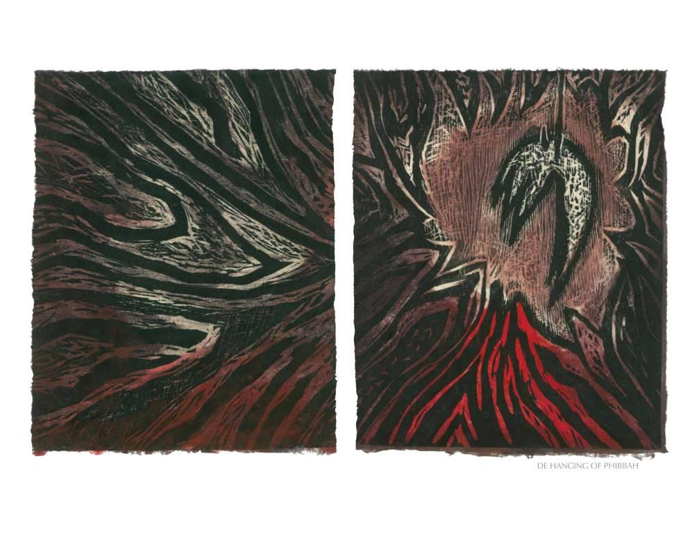 DE HANGIN OF PHIBBAH, 2012, woodblock print from the Weeping in the Blood series commissioned by Small Axe. To see the series  select Prints in the drop down menu.