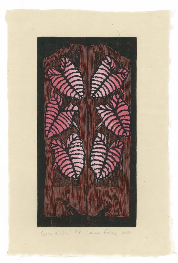 COCOA WALK, 2010, wood block prints, kitikata paper, 9 3/4 x 5 1/4 in