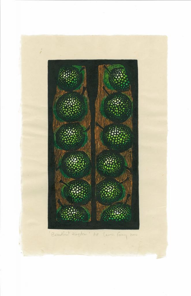 BREADFRUIT KINGDOM, 2010, wood block prints, kitikata paper, 9 3/4 x 5 1/4 in