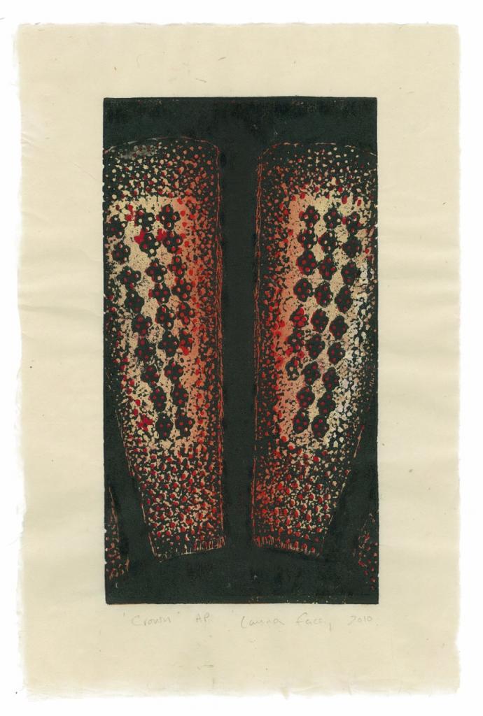 CROWN, 2010, wood block prints, kitikata paper, 9 3/4 x 5 1/4 in