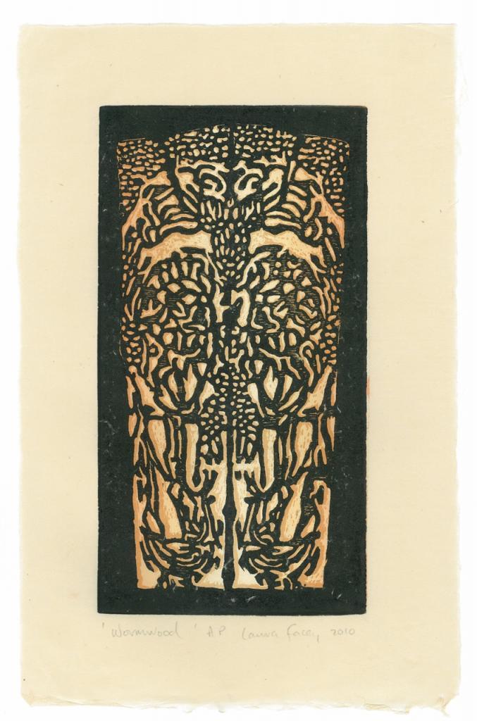 WORMWOOD,  2010, wood block prints, kitikata paper, 9 3/4 x 5 1/4 in