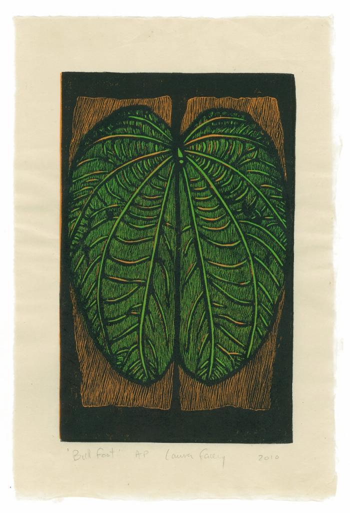 BULL FOOT, 2010, wood block prints, kitikata paper, 9 3/4 x 6