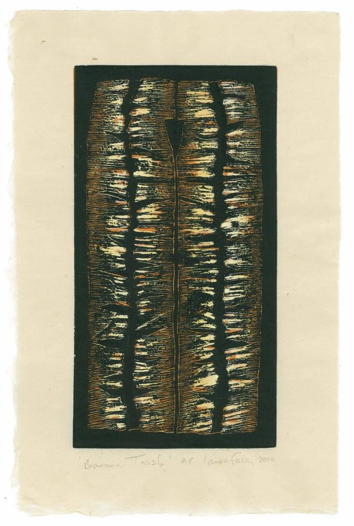 BANANA TRASH, 2010, wood block prints, kitikata paper, 9 3/4 x 5 1/4 in