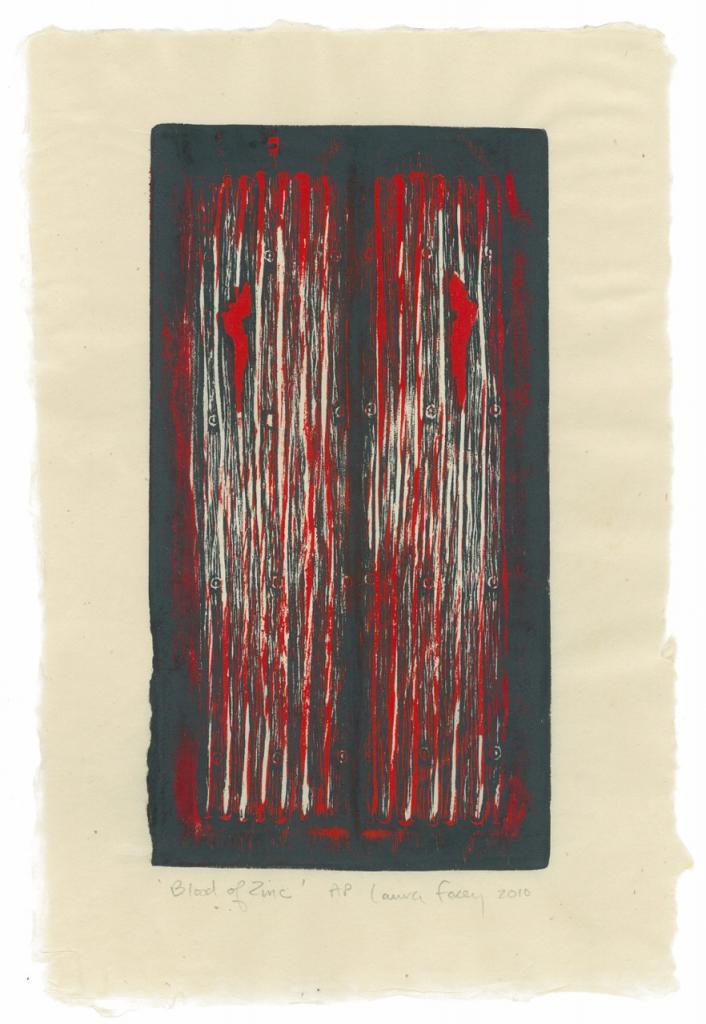 BLOOD OF ZINC, 2010, wood block print, kitikata paper, 9 3/4 x 5 1/4 in