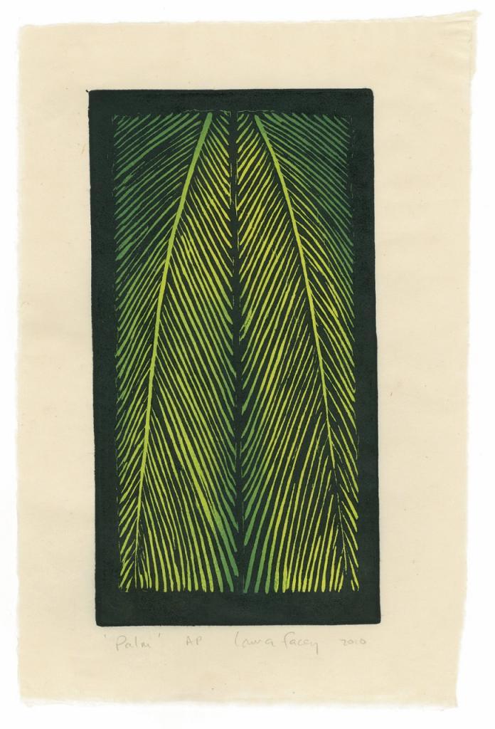 PALM, 2010, wood block prints, kitikata paper,  9 3/4 x 5 1/4 in