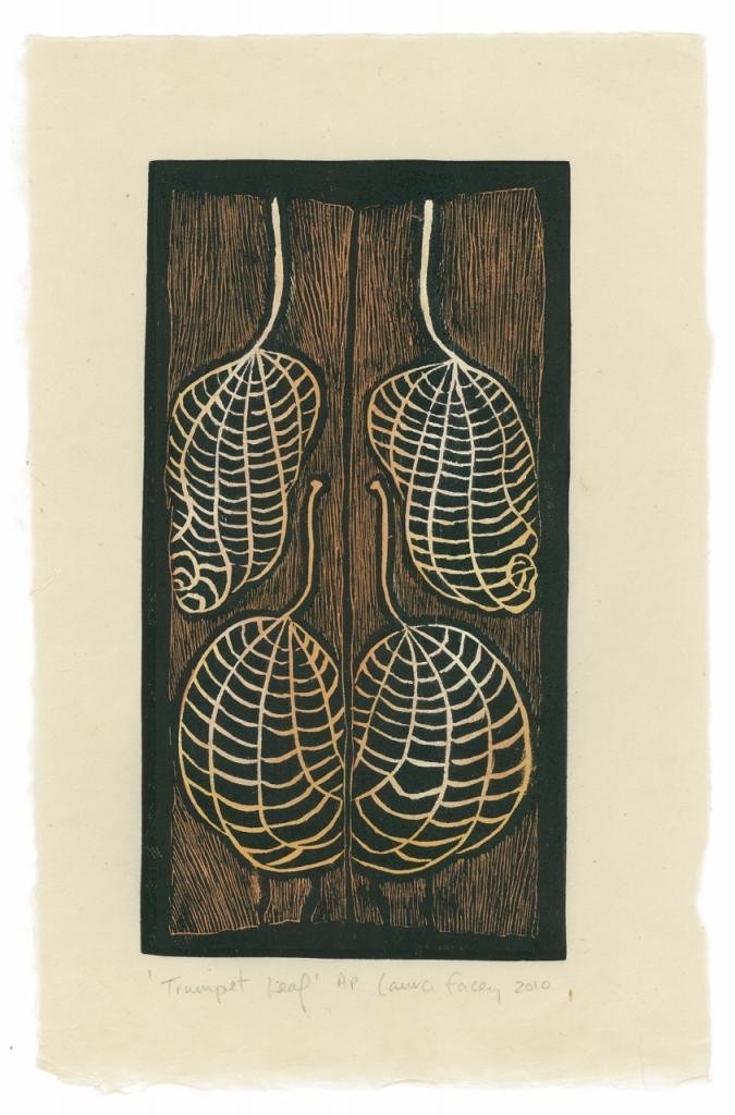 TRUMPET LEAF, 2010, wood block prints, kitikata paper, 9 3/4 x 5 1/4 in