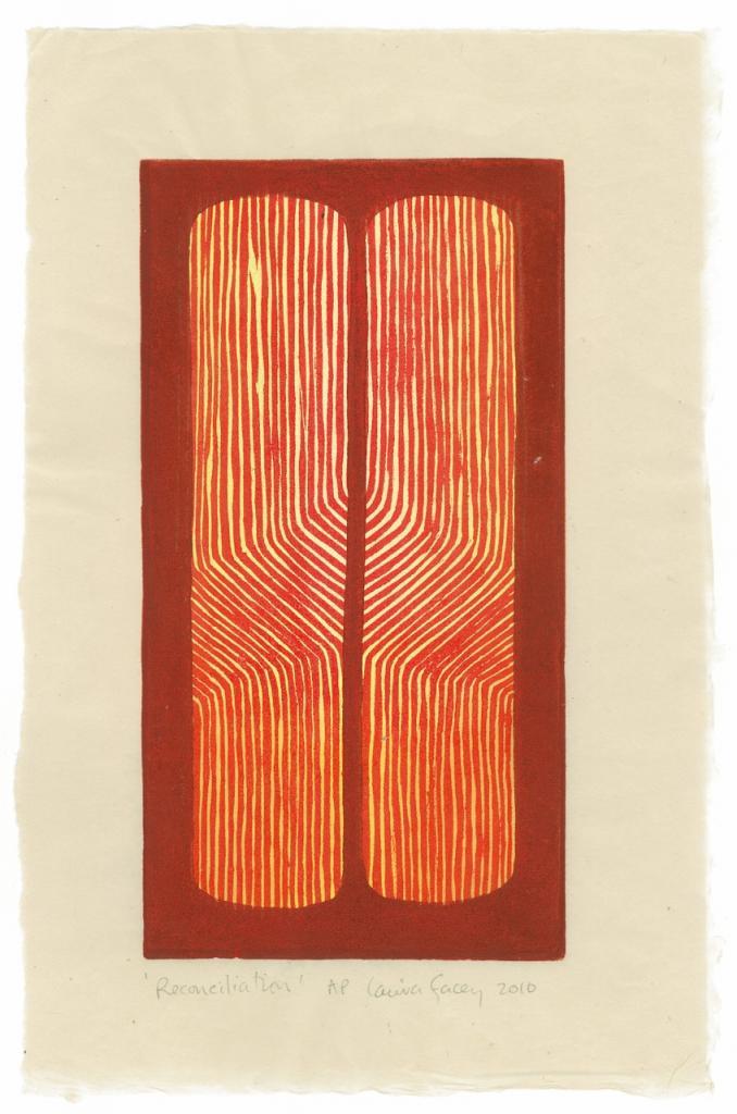 RECONCILIATION, 2010, wood block prints, kitikata paper,  9 3/4 x 5 1/4 in