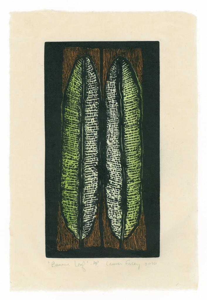 BANANA LEAF, 2010, wood block prints, kitikata paper, 9 3/4 x 5 1/4 in