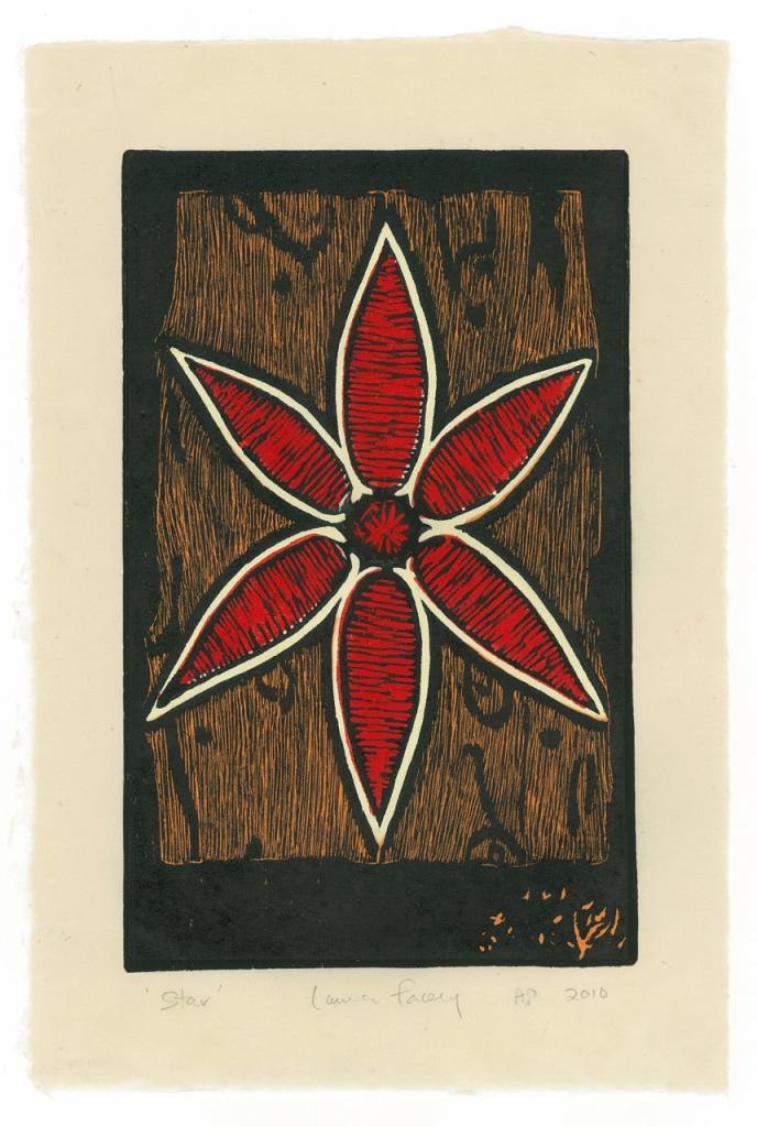 STAR, 2010, wood block prints, kitikata paper, 9 3/4 x 6