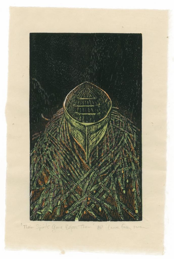 THEIR SPIRITS GONE BEFORE THEM, 2010, wood block prints, kitikata paper, 9 3/4 x 6 in each