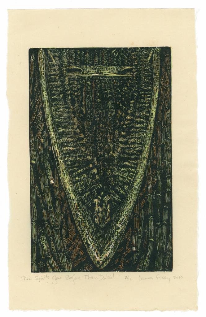 THEIR SPIRITS GONE BEFORE THEM detail, 2010, wood block prints, kitikata paper, 9 3/4 x 6 in each
