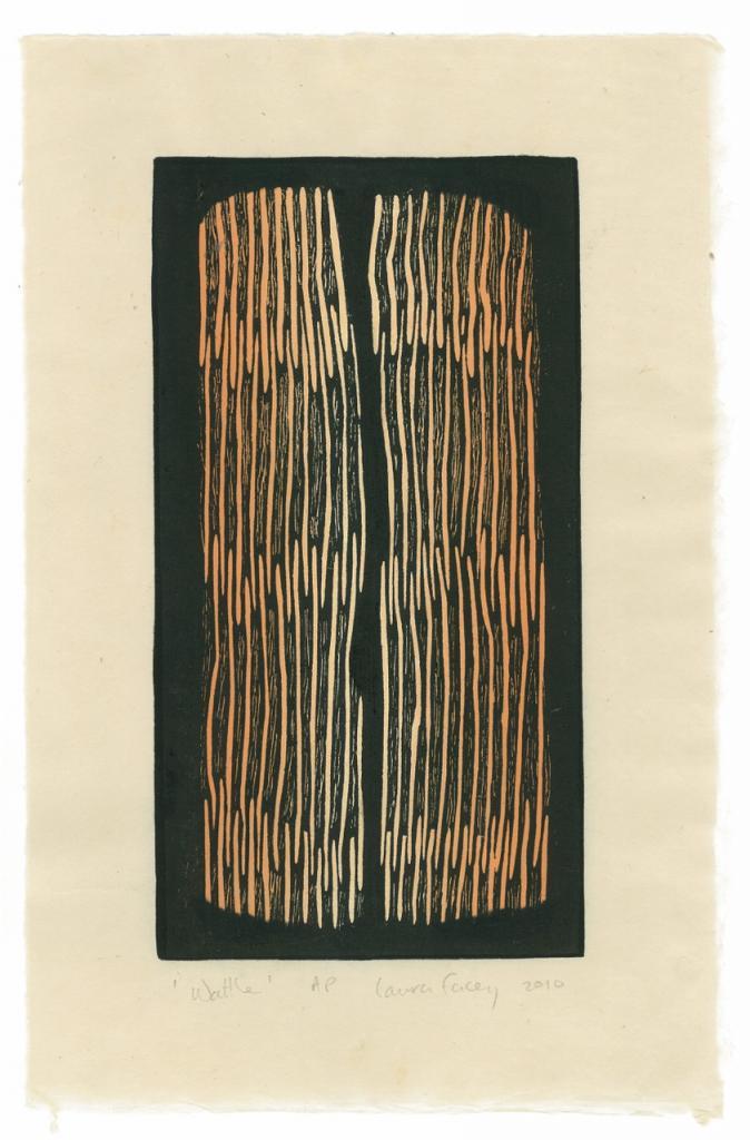 WATTLE,  2010, wood block prints, kitikata paper, 9 3/4 x 5 1/4 in