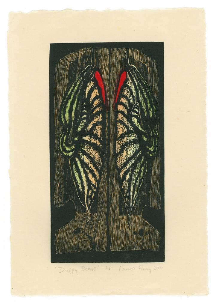 DUPPY DOORS, 2010, wood block prints, kitikata paper, 9 3/4 x 5 1/4 in