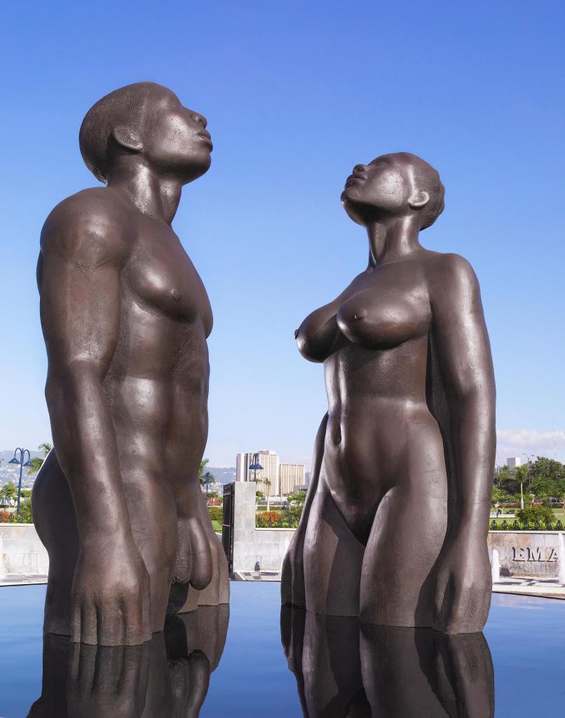 REDEMPTION SONG, 2003, bronze, 14', Emancipation Park, Kingston, Jamaica